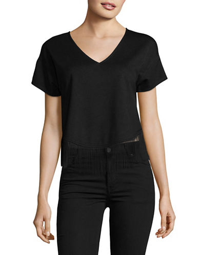 Highline Collective Easy V-Neck Top with Fringe-BLACK-Small