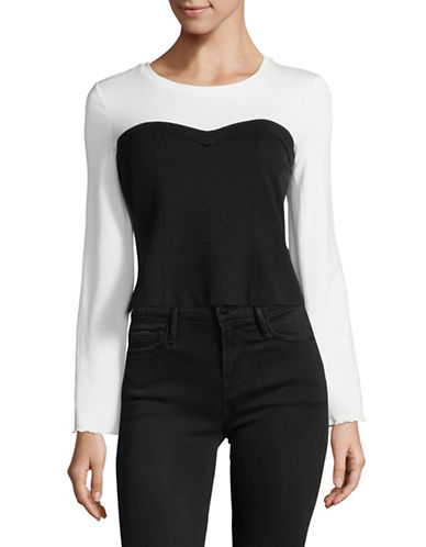 Highline Collective Mixed Media Flare Sleeve Corset Top-BLACK-Small