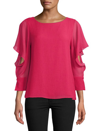 H Halston Flounce-Sleeve Top-PINK-Medium 89770895_PINK_Medium