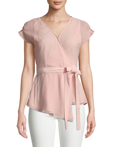 H Halston Cap-Sleeve Wrap Top-PINK-X-Small 89770903_PINK_X-Small