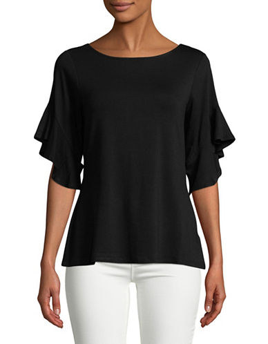 Imnyc Isaac Mizrahi Three-Quarter Ruffled Top-BLACK-X-Large 89774610_BLACK_X-Large