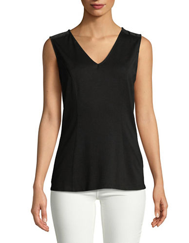 Imnyc Isaac Mizrahi V-Neck Fitted Tank Top-BLACK-X-Large 89774625_BLACK_X-Large