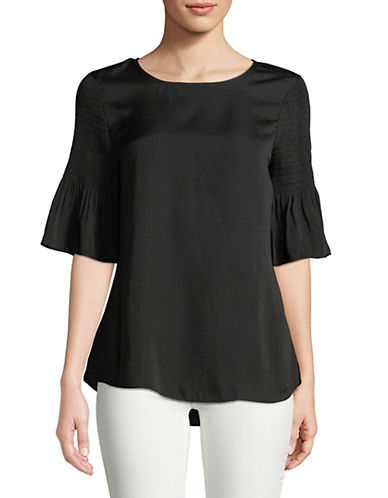 Imnyc Isaac Mizrahi Smocked Elbow-Sleeve Hi-Lo Top-BLACK-Large 89794372_BLACK_Large