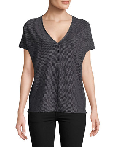 H Halston Mitered V-Neck Cotton Top-BLACK-X-Small