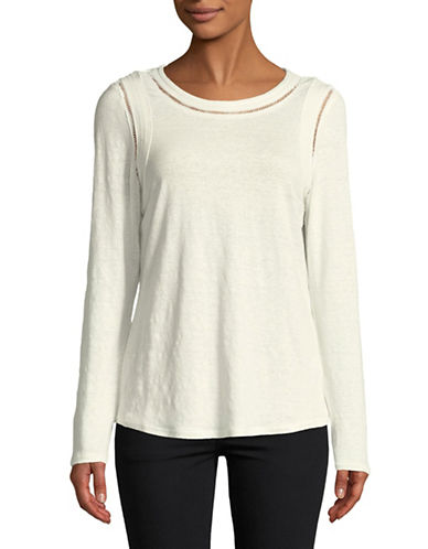 H Halston Cutout Linen-Blend Top-WHITE-X-Small