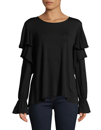 H Halston Ruffle Sleeves Top-BLACK-Small