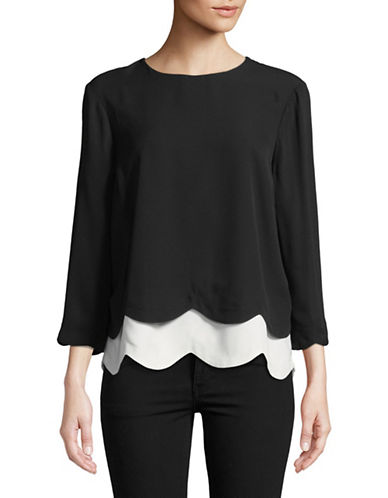Imnyc Isaac Mizrahi Layered Scallop Hem Top-BLACK-Small 89759919_BLACK_Small