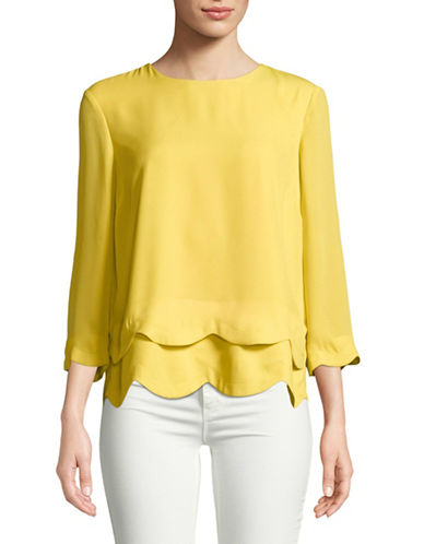 Imnyc Isaac Mizrahi Layered Scallop Hem Top-LEMON-X-Large