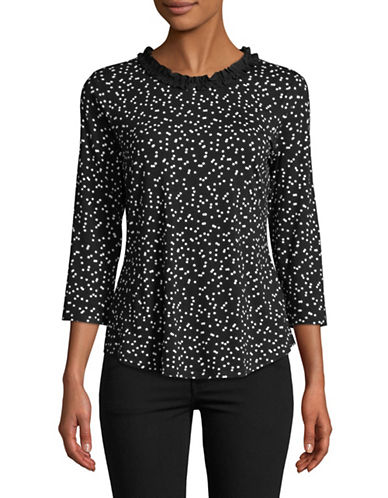 Imnyc Isaac Mizrahi Jewel Neck 3/4 Sleeve Top With Ruffle Neckline-BLACK-Small