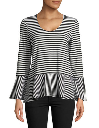 Imnyc Isaac Mizrahi Striped Bracelet-Sleeve Peplum Top-BLACK/CREAM-Small