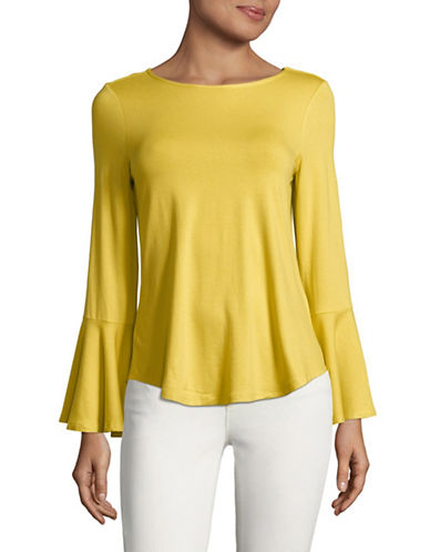 Imnyc Isaac Mizrahi Round Neck Long-Sleeve Flounce Top-LEMON-Small