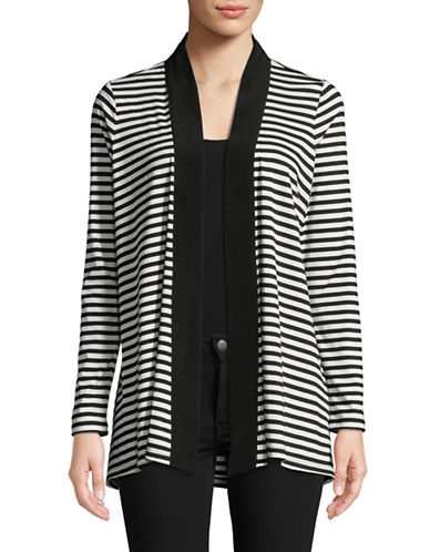Imnyc Isaac Mizrahi Fly Away Long Sleeve Cardigan-BLACK/CREAM-X-Large