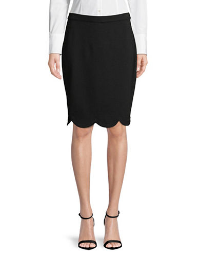 Imnyc Isaac Mizrahi Scalloped Pencil Skirt-BLACK-X-Small