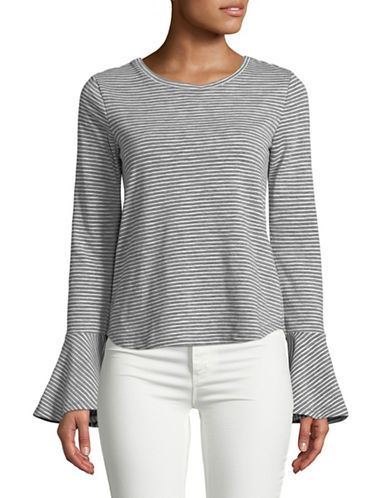 Highline Collective Striped Flounce-Sleeve Top-GREY-Large