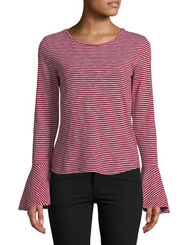 Highline Collective Striped Flounce-Sleeve Top-RED-X-Large