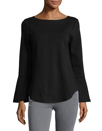 Imnyc Isaac Mizrahi Boat Neck Long-Sleeve Flounce Top-BLACK-X-Small