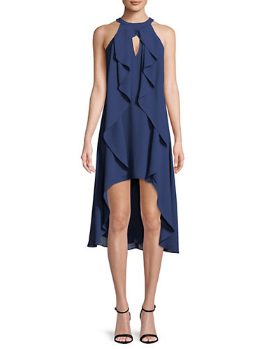 Hi Lo Ruffle Front Dress by H Halston