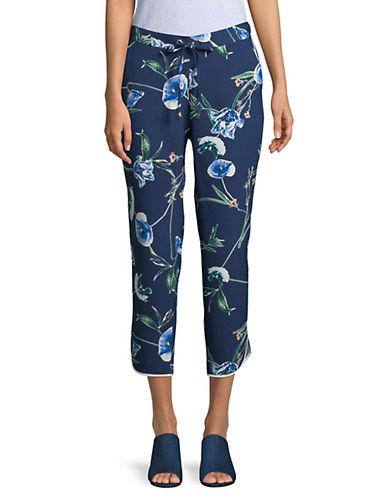 Ivanka Trump Cropped Floral Drawstring Pants-NAVY-X-Small 90045574_NAVY_X-Small