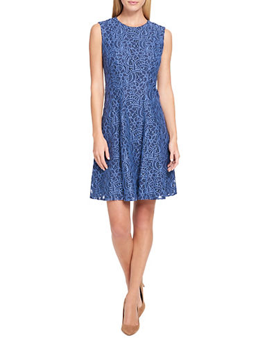 Tommy Hilfiger Ribbon Floral Lace Fit-and-Flare Dress 89992736