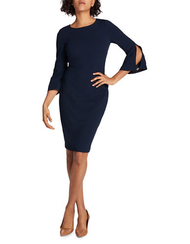 Tommy Hilfiger Bell Sleeve Sheath Dress-NAVY-2