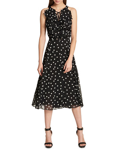 Tommy Hilfiger Chiffon Lace-Up Midi Dress-BLACK-14