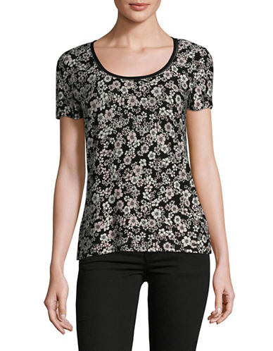 Tommy Hilfiger Floral Lattice-Trimmed Tee-PINK-X-Small 89834704_PINK_X-Small