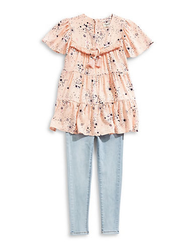 Jessica Simpson Little Girl's Two-Piece Printed Cotton Top & Jeans Set 90166668