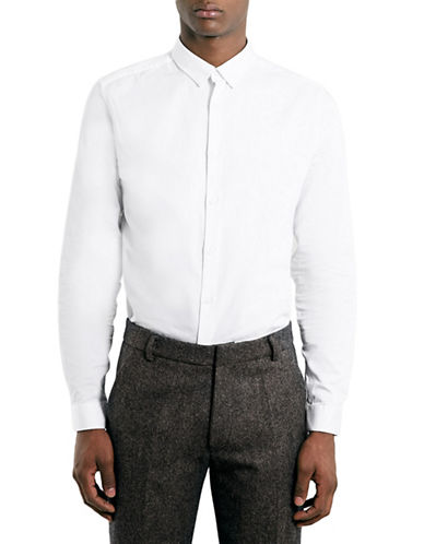 Topman Premium White Long Sleeve Smart Shirt-WHITE-Medium