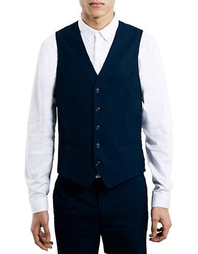 Topman Textured Skinny Fit Vest-DARK BLUE-40