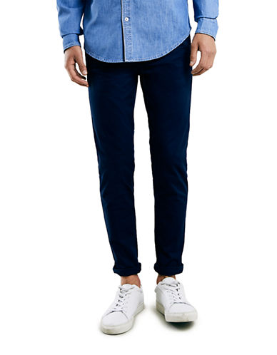 Topman Indigo Stretch Skinny Chinos-DARK BLUE-32