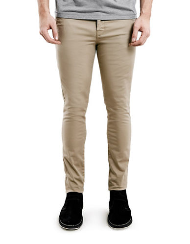 Topman Stone Stretch Skinny Chinos-STONE-28 Short
