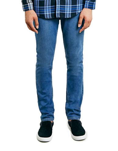 Topman Stretch Slim Jeans-MID BLUE-32 Long
