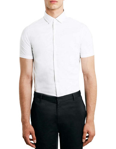 Topman Stretch Skinny Sport Shirt-WHITE-Small