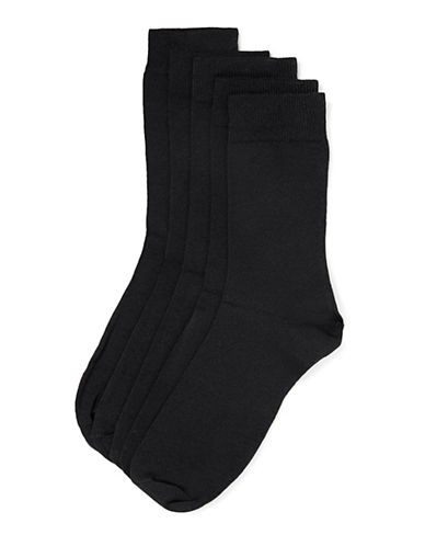 Topman Five-Pack Logo Crew Socks-BLACK-One Size