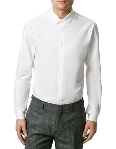 Topman Penny Collar Long Sleeve Shirt-WHITE-Small
