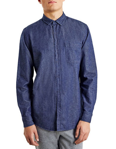 Topman Washed Denim Sport Shirt-BLUE-Small
