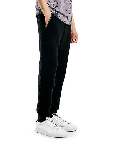 Topman Ribbed Jogger Pants-BLACK-Small 87773177_BLACK_Small