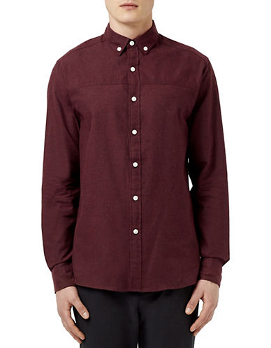 Topman Herringbone Sport Shirt-BURGUNDY-Medium