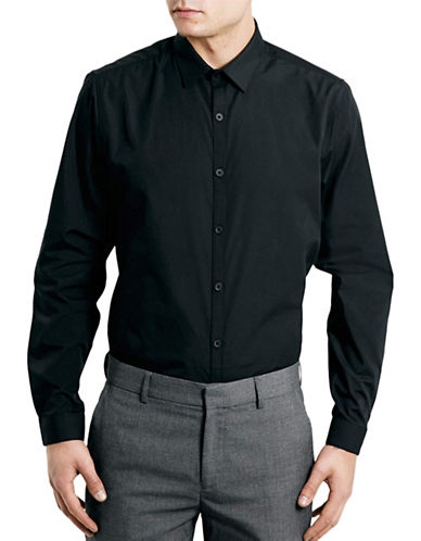 Topman Smart Slim Fit Sport Shirt-BLACK-X-Large