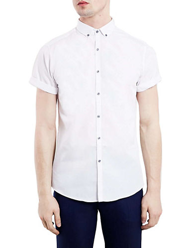 Topman Cuffed Sport Shirt-WHITE-Large