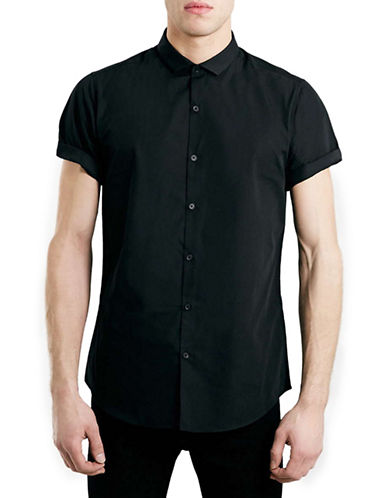 Topman Cutaway Collar Sport Shirt-BLACK-Medium