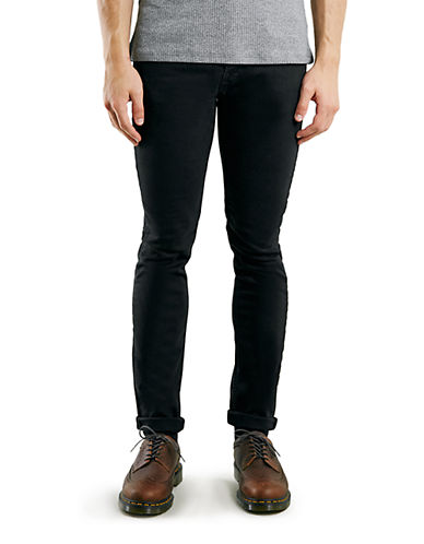 Topman Stretch Slim Jeans-BLACK-32 Short