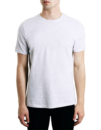 Topman Slim Fit Marl Crew Neck T-Shirt-LIGHT GREY-Small