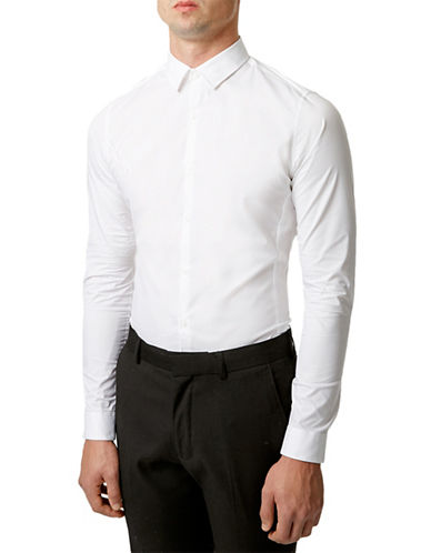 Topman Slim Fit Stretch Sport Shirt-WHITE-Small