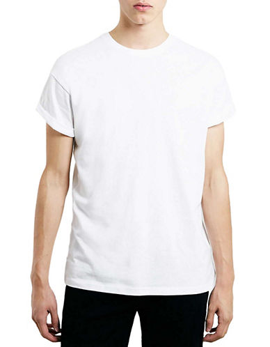 Topman Cuffed Crew Neck T-Shirt-WHITE-Small 88024035_WHITE_Small