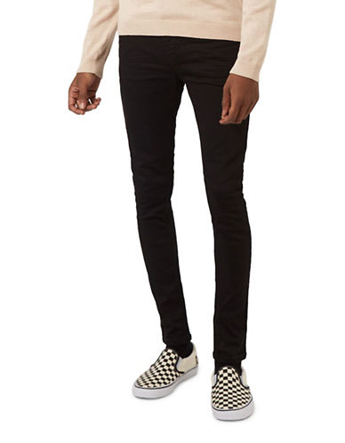 Topman Coated Spray-On Skinny Jeans-BLACK-32 Long