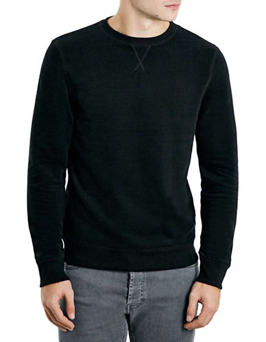 Topman Crew Neck Sweatshirt-BLACK-Medium 88069697_BLACK_Medium