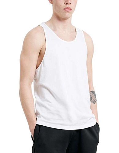 Topman Classic Scoop Neck Tank Top-WHITE-Small