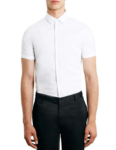 Topman Skinny Fit Short Sleeve Shirt-WHITE-X-Large