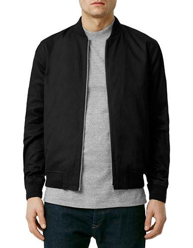 Topman Black Cotton Bomber Jacket-BLACK-Small 88330855_BLACK_Small